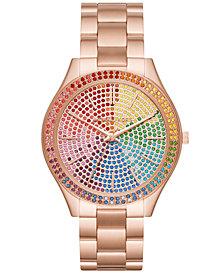 Michael Kors Women's Slim Runway Rose Gold-Tone Stainless Steel Bracelet Watch 42mm