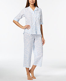 Miss Elaine Rose-Print Cropped Pajama Set
