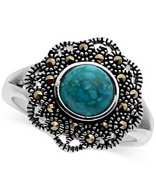 Marcasite and Manufactured Turquoise Filigree Ring in Fine Silver-Plate