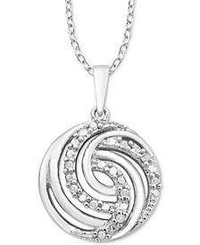 "Diamond Swirl 18"" Pendant Necklace (1/10 ct. t.w.) in Sterling Silver"