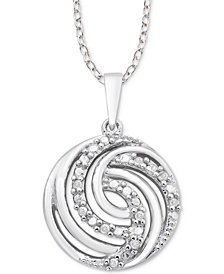 "Diamond Swirl 18"" Pendant Necklace (1/10 ct. t.w.) in Sterling Silver"