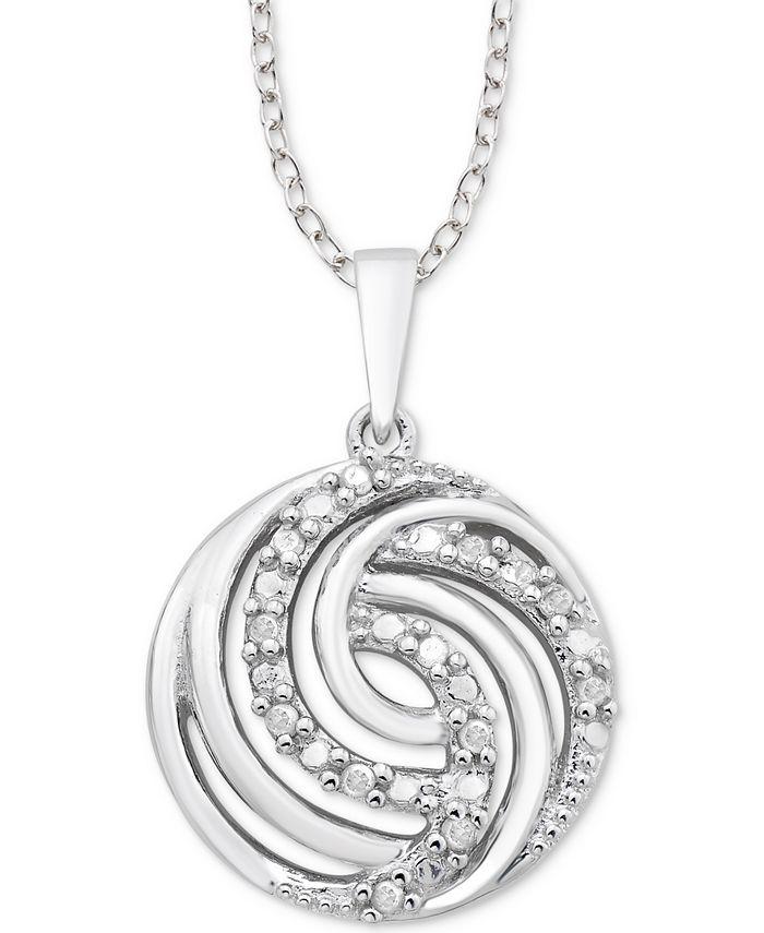 """Macy's - Diamond Swirl 18"""" Pendant Necklace (1/10 ct. t.w.) in Sterling Silver"""