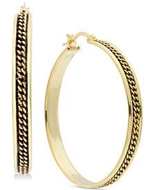 Essentials Medium Braided-Look Hoop Earrings in Fine Silver Plate