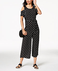 Emerald Sundae Juniors' Polka Dot Cold-Shoulder Jumpsuit