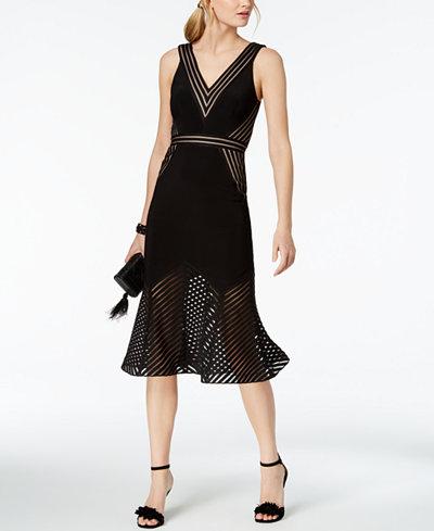 XSCAPE Illusion-Stripe Midi Dress
