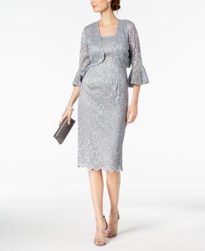 Alex Evenings Glitter-Lace Dress & Bell-Sleeve Jacket 6123976