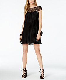 XSCAPE Embellished Pleated Trapeze Dress