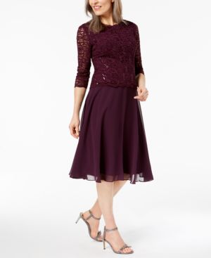 Alex Evenings Sequined Lace Contrast Dress 6123973