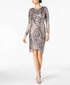 Betsy & Adam Sequined Bodycon Dress