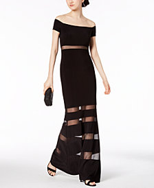 X by Xscape Off-The-Shoulder Illusion-Stripe Gown