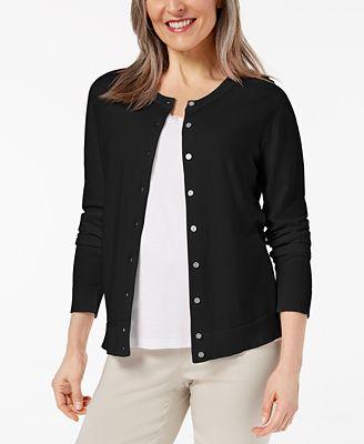Karen Scott Crew Neck Cardigan Created For Macys Sweaters