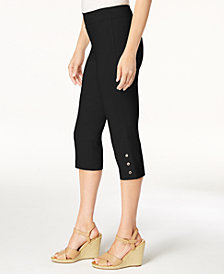 JM Collection Button-Hem Slim-Leg Capris, Created for Macy's
