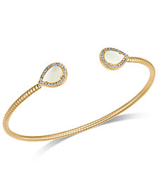 Danori Pavé & Imitation Mother-of-Pearl Textured Cuff Bracelet, Created for Macy's
