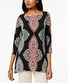 JM Collection Studded Cold-Shoulder Tunic, Created for Macy's