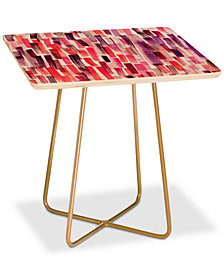Deny Designs Ninola Design Red Modern Brushstrokes Painting Stripes Square Side Table