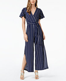 Monteau Petite Striped Faux-Wrap Jumpsuit, Created for Macy's