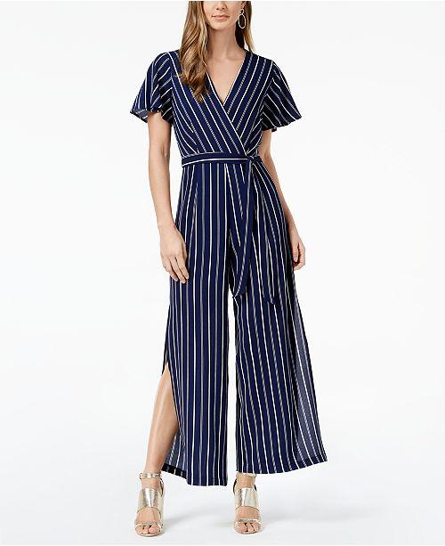 823038f8c2a1 Monteau Petite Striped Faux-Wrap Jumpsuit
