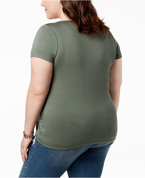 5675b13505a Planet Gold. Trendy Plus Size Twist-Hem T-Shirt. 1 reviews. main image ...