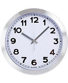 "Everyday Home 12"" Brushed Aluminum Wall Clock"