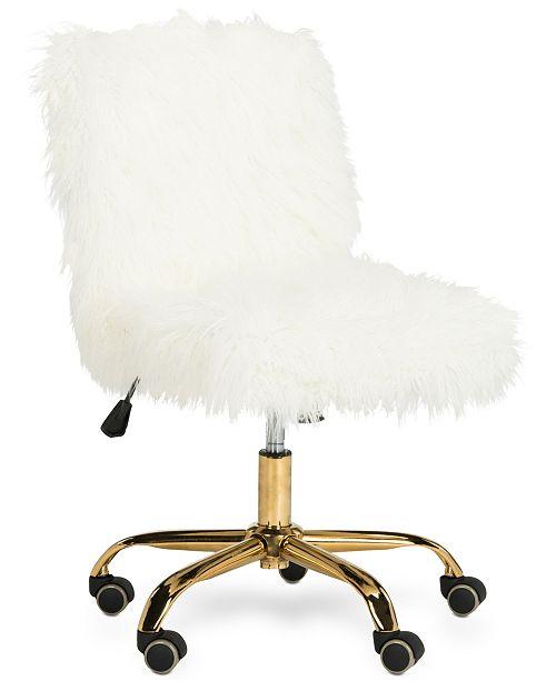 Furniture Hanna Faux Fur Office Chair, Quick Ship