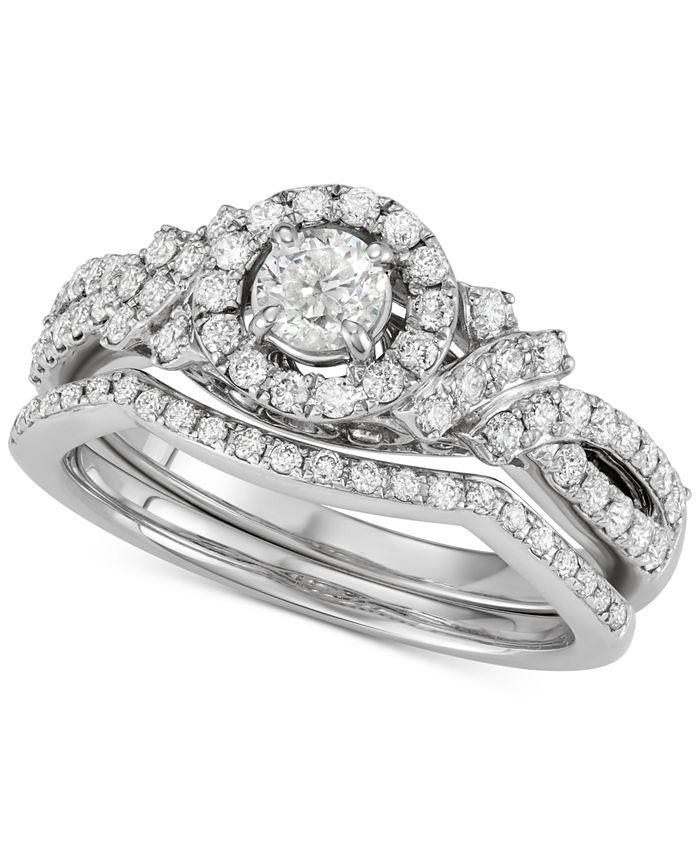 Macy's - Diamond Halo Bridal Set (1 ct. t.w.) in 14k White Gold