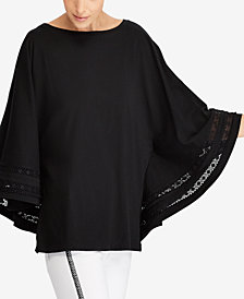Lauren Ralph Lauren Lace-Trim Dolman-Sleeve Top