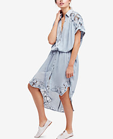 Free People Cut It Out Embroidered Midi Shirtdress