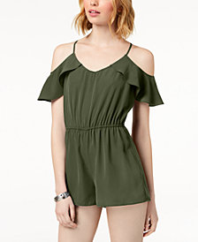 Be Bop Juniors' Flutter-Sleeved Cold-Shoulder Romper