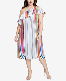 RACHEL Rachel Roy Trendy Plus Size One-Shoulder Midi Dress