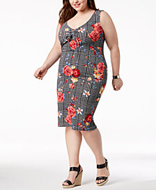 Planet Gold Trendy Plus Size Polka-Dot Bodycon Dress