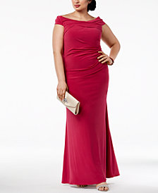 Adrianna Papell Plus Size Off-The-Shoulder Jersey Gown