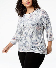 Calvin Klein Performance Plus Size Printed Drop-Shoulder T-Shirt