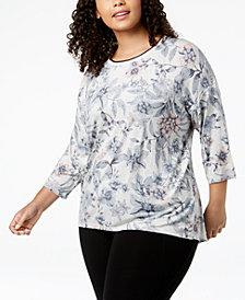 Calvin Klein Performance Plus Size Printed Drop-Shoulder T-Shirt