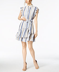 julia jordan Striped Ruffled Shirtdress