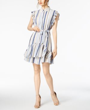Striped Woven Ruffle-Sleeve Mini Shirtdress, Blue