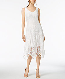 Taylor Lace Handkerchief-Hem Midi Dress