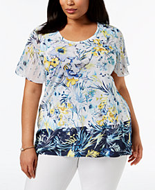 JM Collection Plus Size Floral-Print Embellished Top, Created for Macy's