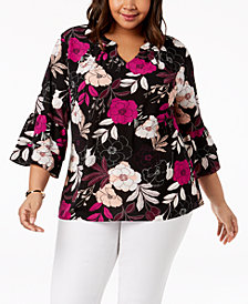 NY Collection Plus Size Printed Ruffle-Sleeve Blouse