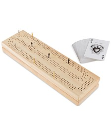 62-Pc. Wood Cribbage Board Game Set