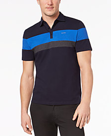 Calvin Klein Men's Liquid Touch Pieced Colorblocked Stripe Polo