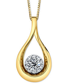 "Diamond Halo Teardrop 18"" Pendant Necklace (1 ct. t.w.) in 14k Gold & White Gold"