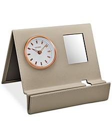 Workplace Beige Leather Desk Clock