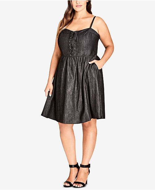 56f2fce3394 City Chic. Trendy Plus Size Lace-Up Fit   Flare Dress. Be the first to  Write a Review. main image  main image