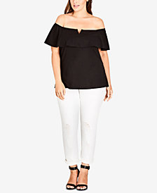 City Chic Trendy Plus Size Off-The-Shoulder Ruffled Top