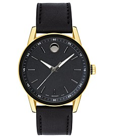 Men's Swiss Museum Sport Black Leather Strap Watch 42mm