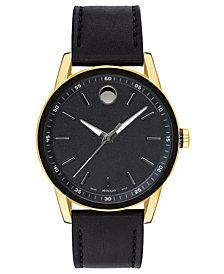 Movado Men's Swiss Museum Sport Black Leather Strap Watch 42mm