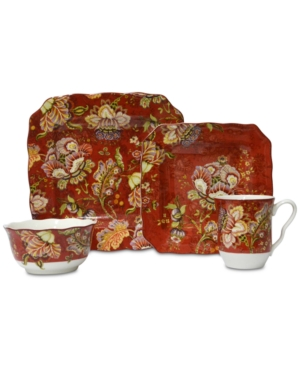 Image of 16pc Porcelain Gabrielle Dinnerware Set Red - 222 Fifth