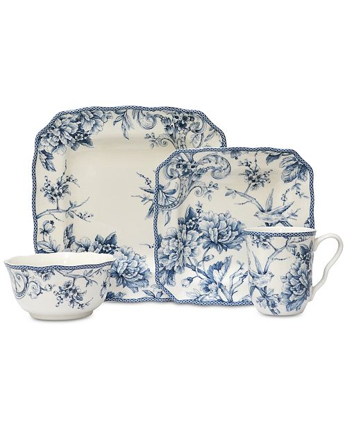 222 Fifth Adelaide Blue 16-Pc. Dinnerware Set, Service for 4