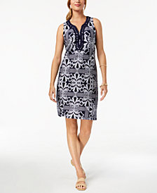 Charter Club Embroidered Split-Neck Shift Dress