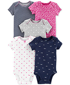 Carter's Baby Girls 5-Pack Printed Cotton Bodysuits
